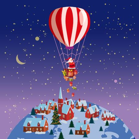 Santa Claus flying on hot air balloon Merry Christmas and Happy New Year