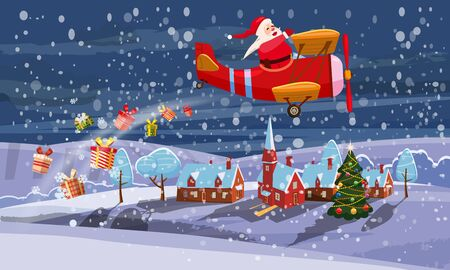 Santa Claus flying on retro airplane delivering gifts in the night sky