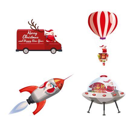 Set of Santa Claus of different types of transport vehicles truck, rocket, balloon, UFO. Vector, illustration, isolated cartoon style 일러스트