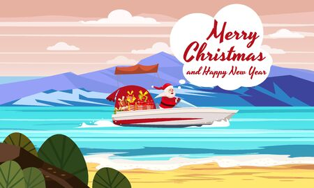 Merry Christmas Santa Claus on speed boat on ocean sea tropical island mountains seaside