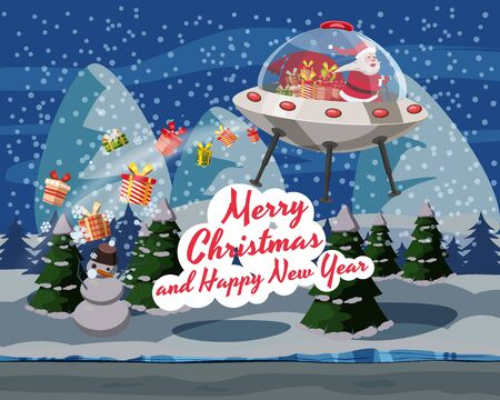 Merry Christmas Santa Claus flying in UFO spaceship flying saucer with gift boxes on forest winter night. Vector illustration isolated cartoon style