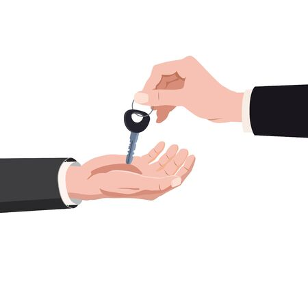 Hand giving keys ome, real estate property purchase, rent, sale buying concept. Vector isolated cartoon style isolated 일러스트