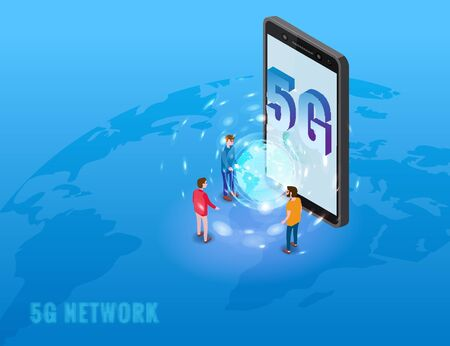 5G internet new mobile wireless technology wifi connection. Isometric smartphone with Earth planet letters 5g and tiny people. Fifth innovative generation of the global high speed Internet network. Ve