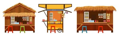Set Warung street food cafe restaurant small family owned busines, store shop. Vector isolated cartoon style