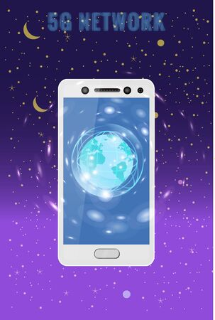 5G internet new mobile wireless technology wifi connection. Smartphone with Earth planet. Fifth innovative generation of the global high speed Internet network. Vector concept illustration isolation t