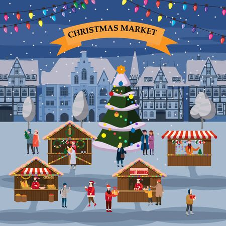 Christmas market or holiday winter outdoor fair on oldtown square big New Year tree cityscape. Big set of people walking, buying gifts, drinking coffee, decorated souvenir stalls or kiosks with gifts