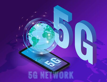 Isometric 5G network wireless technology template. Letters 5G smartphone with Earth planet. Fifth innovative generation of the global high speed Internet network. Vector concept illustration isolation