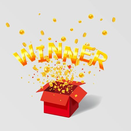 Open red Gift box WIN gold text with confetti explosion inside 일러스트