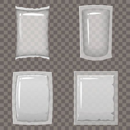 Set of transparent empty plastic packaging and vacuum containers mockups