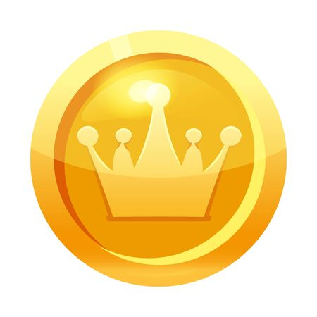 Game coin gold with crown symbol, icon, game interface, gold metal