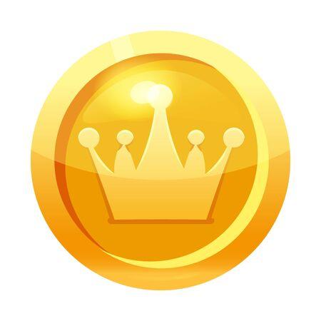 Spielmünze Gold mit Kronensymbol, Symbol, Spielschnittstelle, Goldmetall