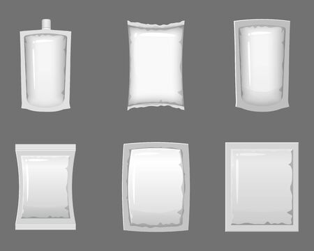 Set empty plastic packaging and vacuum containers mockups