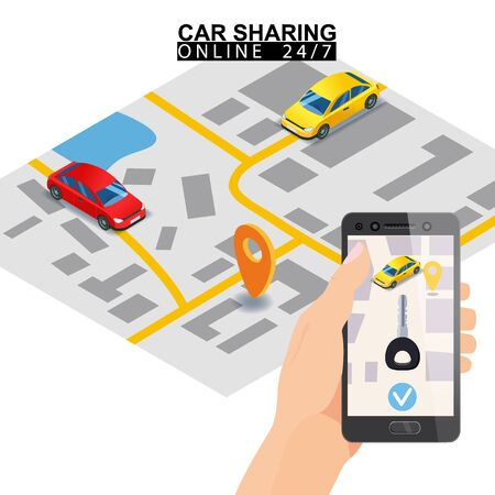 Car sharing isometric. Hand hold smartphone screen with city map route key and points location car. Online mobile application order service. Vector illustration for car sharing service advertisement,