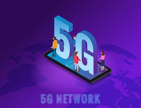 Isometric 5G network wireless technology template. Isometric smartphone with Earth planet letters 5g and tiny people. Fifth innovative generation of the global high speed Internet network. Vector concept illustration isolation Banque d'images - 136604949