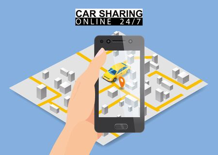 Car sharing isometric. Hand hold smartphone screen with city map route and points location yellow car. Online mobile application order service. Vector illustration for car sharing service advertisement, promotion Banque d'images - 136604962