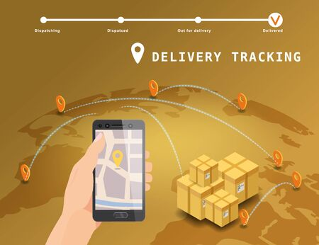 Delivery Global tracking system service online isometric design with markers cargo boxes on map Earth. Hand hold smartphone with GPS navigation map app. Smart logistics and transportation concept. Vector isolated illustration web, banner, ui, mobile app Banque d'images - 136604966