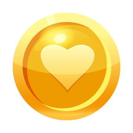 Game coin gold with heart symbol, icon, game interface, gold metal. For web, game or application GUI UI. Vector illustration isolated Banque d'images - 136605014