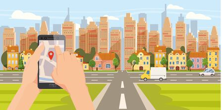 Delivery online service. Hand hold smartphone application for parcel shipment tracking map. 24 7 delivery truck van cityscape background. Vector illustration logistics poster for advertising design template Banque d'images - 136605016