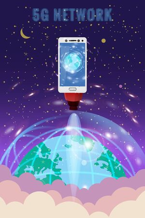 Smartphone rocket is flying in the sky start up. 5G internet new mobile wireless technology wifi connection. Isometric letters 5g Earth planet. Fifth innovative generation of the global high speed Internet network. Vector concept illustration isolation template Banque d'images - 136605012