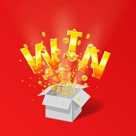 Öffnen Sie die rote Geschenkbox WIN Goldtext mit Konfetti-Explosion im Inneren Vektorgrafik