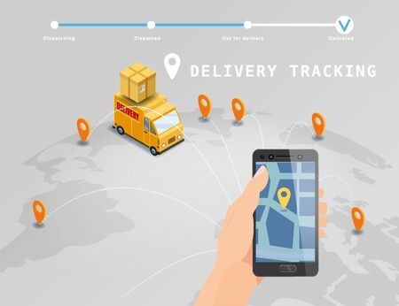 Delivery Global tracking system service online isometric design with truck, boxes on map Earth. Hand hold smartphone with GPS navigation map app. Smart logistics and transportation concept. Vector isolated illustration web, banner, ui, mobile app Banque d'images - 136605018