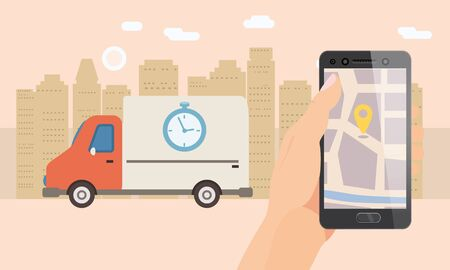 Delivery truck service. Hand hold smartphone application for parcel shipment tracking map. 24 7 delivery van. Vector illustration logistics poster for advertising design template Banque d'images - 136605021