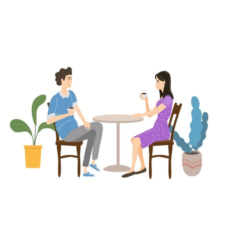 Cute couple sitting at table, drinking tea or coffee and talking in open air cafe. Young man and woman romantic relationship. Male female characters. Vector illustration flat cartoon Banque d'images - 137240046