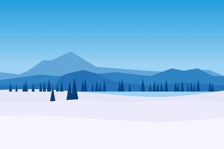 Winter day landscape mountains woodland frosen lake river ice. Pine trees snow ice and hills
