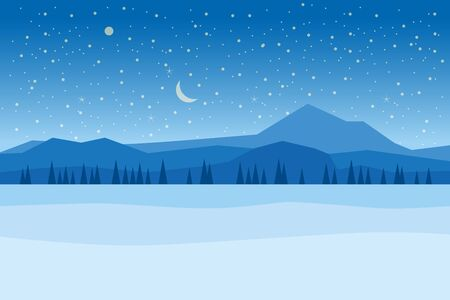 Winter night landscape mountains woodland frosen lake river ice. Pine trees snow ice and hills