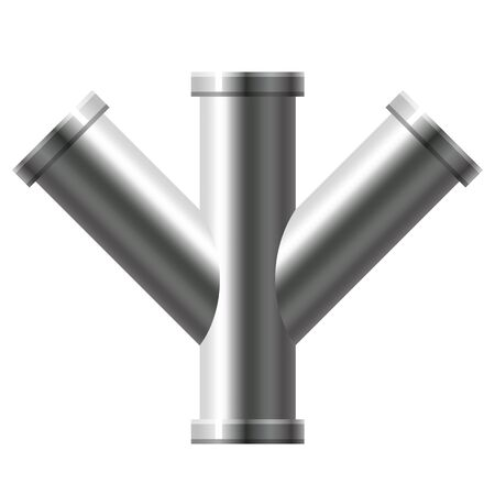 Pipe stainless steel, metallic plumbing fittings pipeline. Water, fuel or gas pipes sewage, oil refinery industry pipeline, house sewervector illustration Banque d'images - 136854203