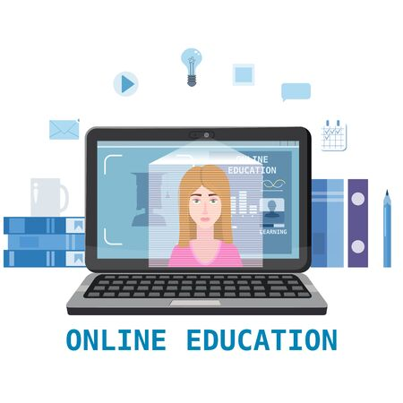 Online education training coaching, workshops and courses. Banque d'images - 136965368