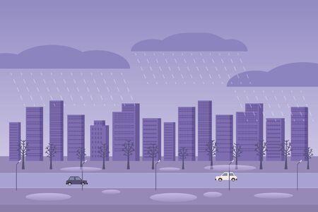 Autumn weather rainy day city. Raining street cars city puddles fall november october season cityscape. Minimal cartoon flat vector illustration