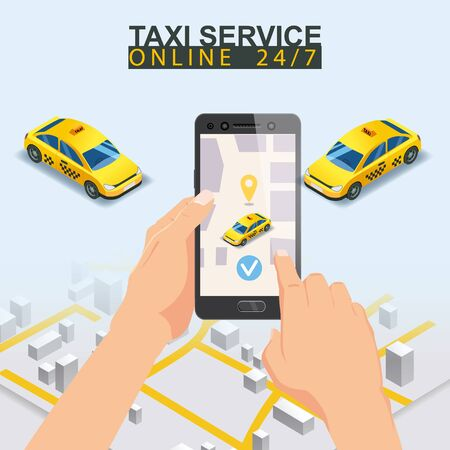 Taxi service isometric. Taxi mobile app template set. Smartphone with city map Banque d'images - 137000797