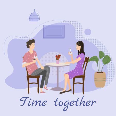 Cute couple sitting at table, drinking tea or coffee and talking cafe. Young man and woman romantic relationship. Male female characters. Vector illustration flat cartoon Banque d'images - 137240048