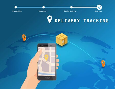 Delivery Global tracking system service online isometric design with markers cargo box on map Earth. Hand hold smartphone with GPS navigation map app. Smart logistics and transportation concept. Vector isolated illustration web, banner, ui, mobile app Banque d'images - 137240056