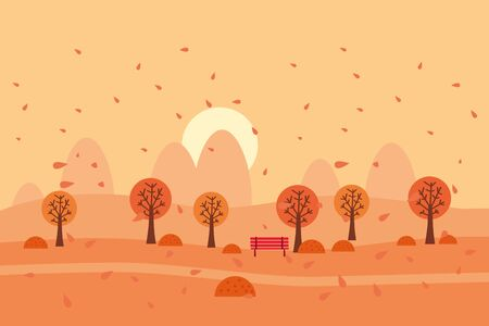Minimal Autumn landscape panorama of Countryside landscape. Yellow trees foliage, mountains, hills, road. Vector illustration minimal trendy style isolated Banque d'images - 137240052