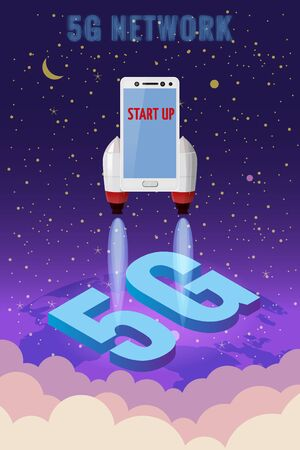 Smartphone rocket is flying in the sky start up. 5G internet new mobile wireless technology wifi connection. Isometric letters 5g Earth planet. Fifth innovative generation of the global high speed Internet network. Vector concept illustration isolation template Banque d'images - 137240050