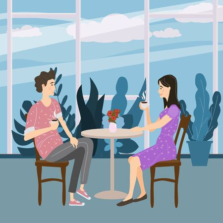 Cute couple sitting at table, drinking tea or coffee and talking cafe. Young man and woman romantic relationship. Male female characters. Vector illustration flat cartoon Banque d'images - 137240055