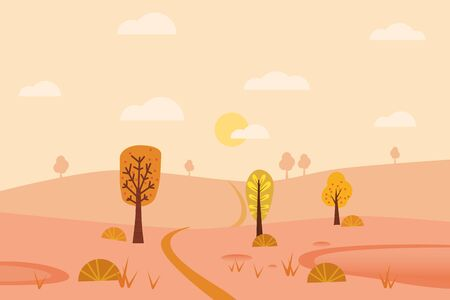Minimal Autumn landscape panorama of Countryside landscape. Yellow trees foliage, mountains, hills, road Banque d'images - 137218162