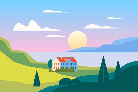 Summer seaside landscape. Sea ocean nature hills fields mountains blue sky clouds sun house countryside. Green tree and grass rural land. Flat cartoon trendy style vector illustration Banque d'images - 137838535
