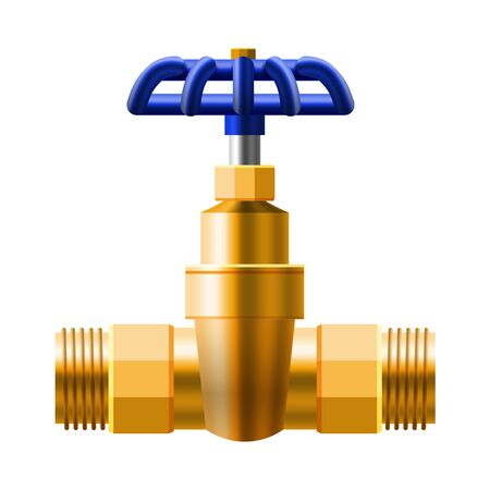 Set valves ball, fittings, pipes of metal bronze, copper piping system Banque d'images - 137257751