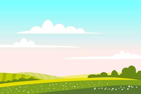 Collina verde del paesaggio della campagna. Panorama natura campi cielo blu nuvole sole rurale. Terreno rurale dell'erba e dell'albero verde. Illustrazione vettoriale di stile alla moda del fumetto piatto Flat