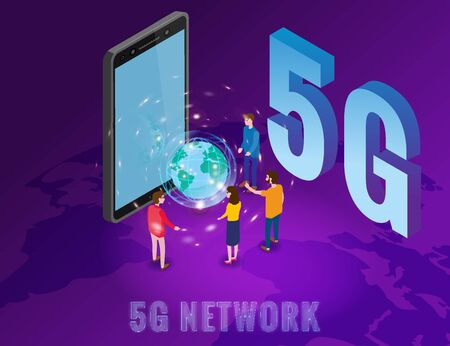Isometric 5G network wireless technology template. Isometric smartphone with Earth planet letters 5g and tiny people. Fifth innovative generation of the global high speed Internet network. Vector concept illustration isolation Vectores