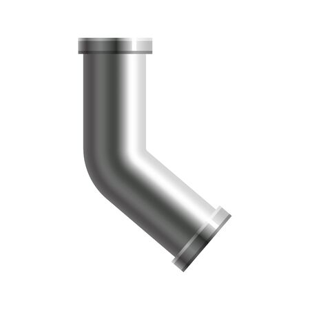 Pipe stainless steel, metallic plumbing fittings pipeline. Water, fuel or gas pipes sewage, oil refinery industry pipeline, house sewer. Construction and industrial pressure technology. Realistic style vector illustration