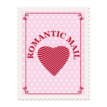 Valentine s day postage stamp, for postcard, mail envelope. Heart, Romantic Mail, retro, vintage, vector, isolated Banque d'images - 137838541
