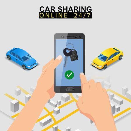 Car sharing isometric. Smartphone screen with city map route and points location car Banque d'images - 137583882