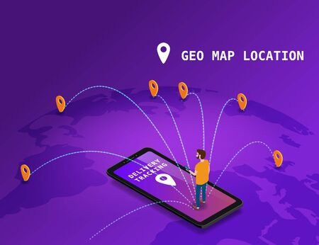 Global tracking system Delivery service online isometric design with smartphone, user man, markers, boxes on map Earth. GPS navigation smart logistics and transportation concept. Vector isolated illustration web, banner, ui, mobile app Banque d'images - 137838552