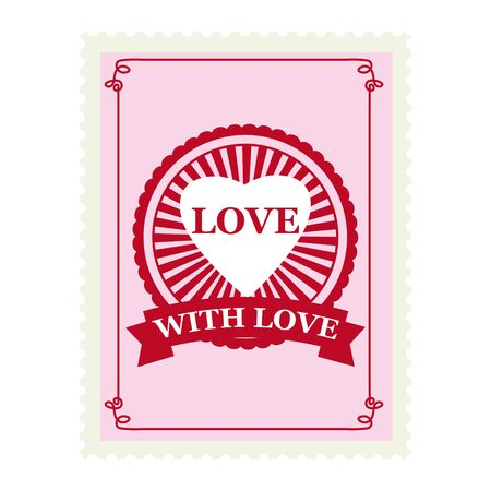 Valentine s day postage stamp, for postcard, mail envelope. Heart, With Love, retro, vintage, vector, isolated Banque d'images - 137838568