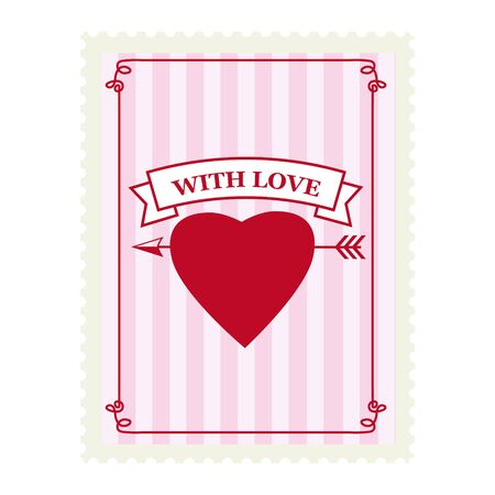 Valentine s day postage stamp, for postcard, mail envelope. Heart, With Love, retro, vintage, vector, isolated Banque d'images - 137838570