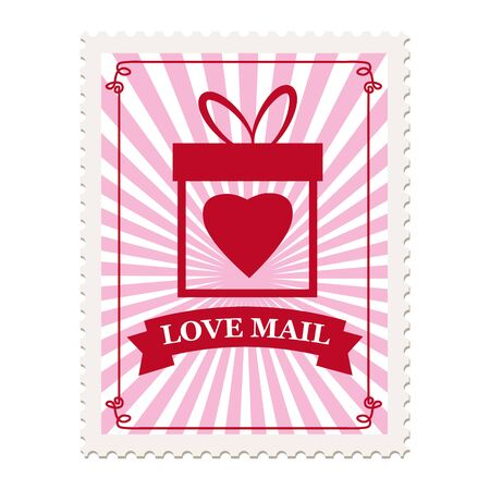Valentine s day postage stamp, for postcard, mail envelope. Heart, Love Mail, retro, vintage, vector, isolated Banque d'images - 137838572